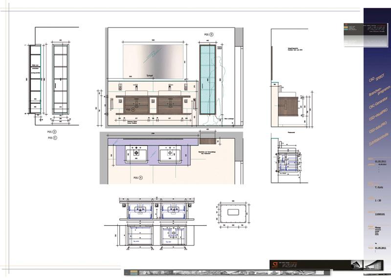 Ausschnitt Werkplan, Planung Badezimmer